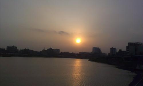 sunset sun lake nature hatirjheel