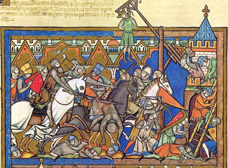 8. Miniatura medieval que representa una batalla. Biblia de Maciejowski