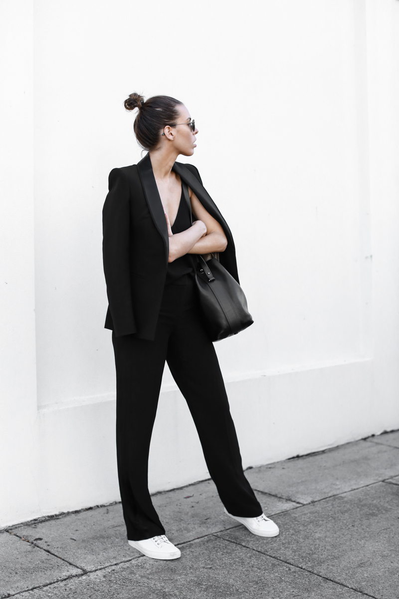 modern legacy, fashion blog, bucket bag, street style, sport luxe, wide leg suit, sneakers, karen millen, top knot (1 of 1)