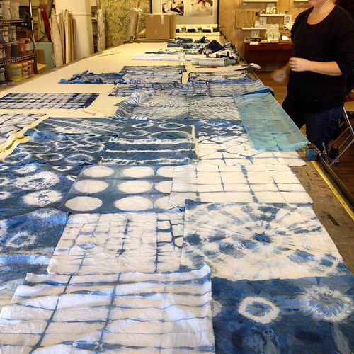 Shibori on indigo with @bekindtextiles at @handmakersfactory