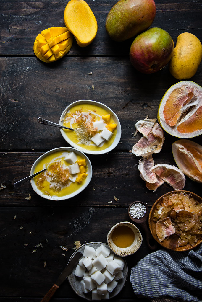 mango pomelo sago, with haupia | two red bowls