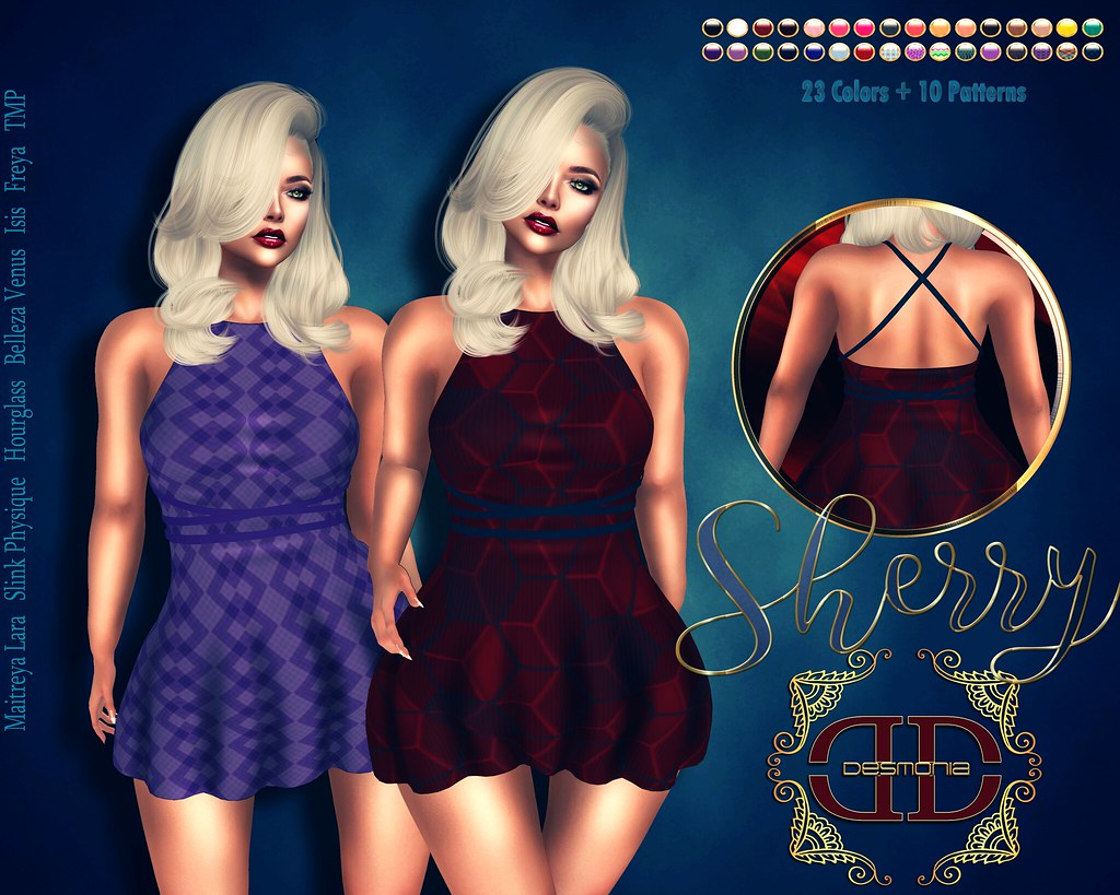 Sherry Front Tie Dress Fatpack 23 Colors  + 10 Patterns - SecondLifeHub.com