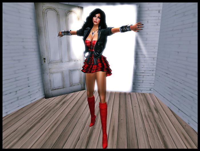 Look Vestido rojo cuadros+chaqueta_001