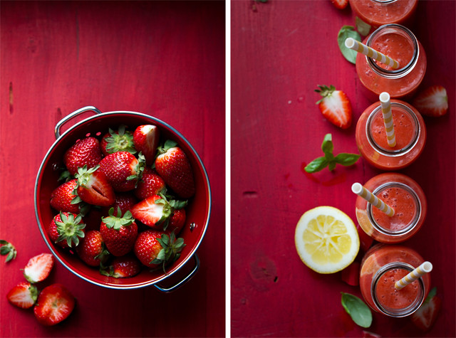 Strawberry-rhubarb-basil smoothie - Creative Still Life Photography