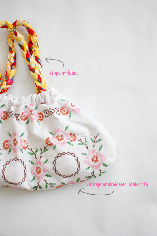 braided tablecloth bag