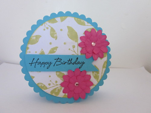Blue, green and pink shaped card