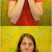 Fauxtobooth of Hilary in front of a painting by semel17