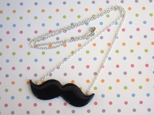 Resin mustache necklace