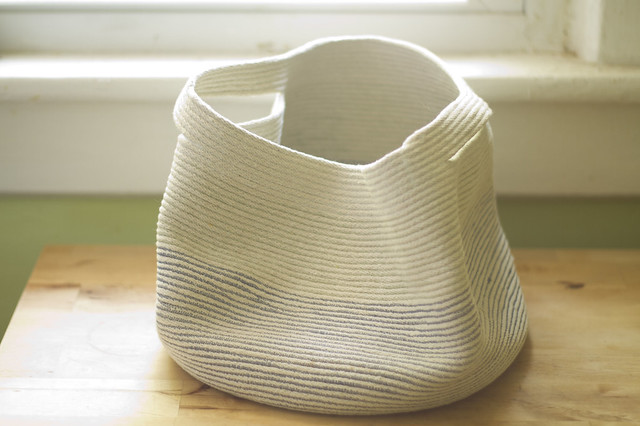 cord basket, crumpled