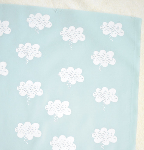 stormy weather in alabaster on soft blue quilting cotton