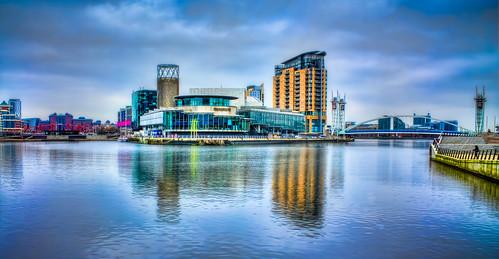 uk england building water canon buildings reflections eos dock waterfront view northwest salfordquays places hdr lowery hdrextremes flickraward hdraddicted dblringexcellence tplringexcellence canon1100d eos1100 loweryfootbridge