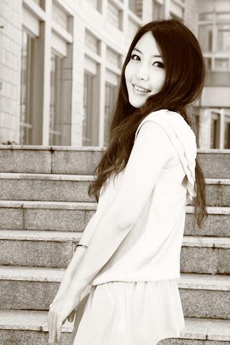 [フリー画像素材] 人物, 女性 - アジア, モノクロ, 台湾人 ID:201207051800