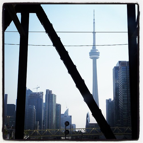 Seen through a footbridge, our friend the CN Tower. #yyz #toronto