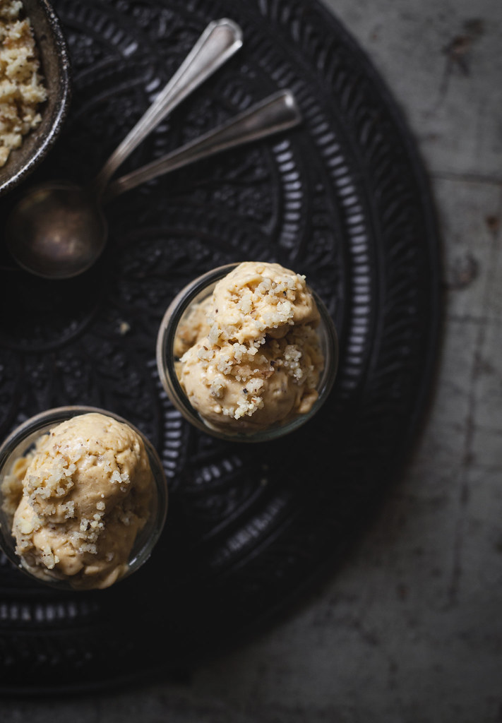Roasted Apricot Buttermilk Ice Cream with Almond Streusel