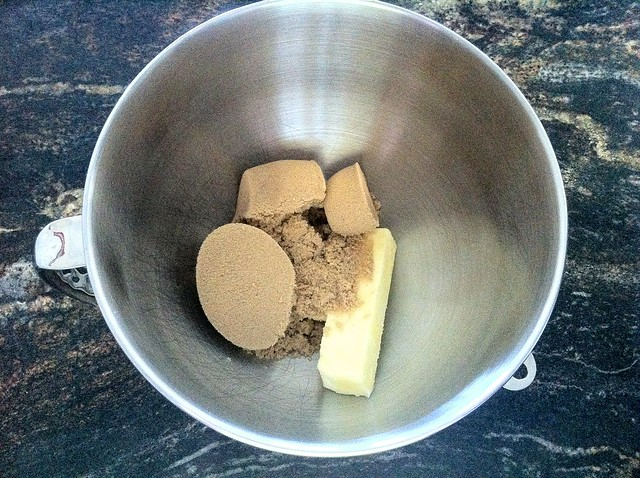 Brown Sugar and Butter in Stand Mixer Bowl