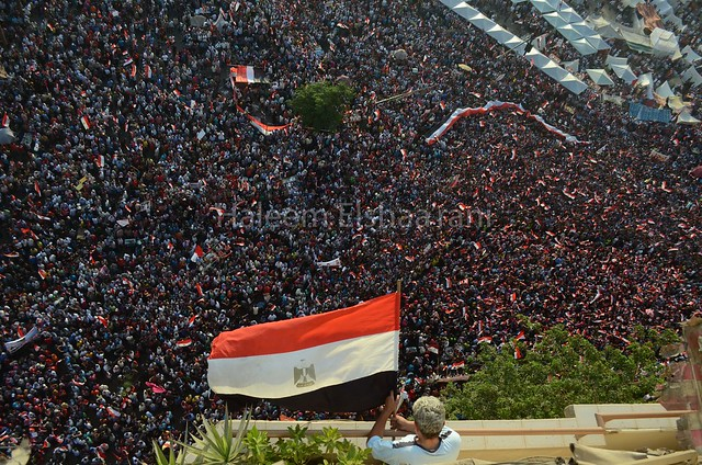 a resident of Tahrir square hangs the Egyptian flag as he watches the protests