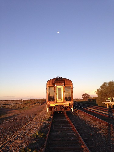 Moon rising over the AK Cars at Ivanhoe
