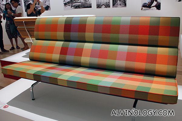 Checked print sofa chair