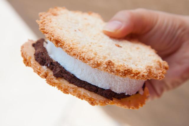 Almond macaroon dark chocolate ice cream sandwich, The Good Batch