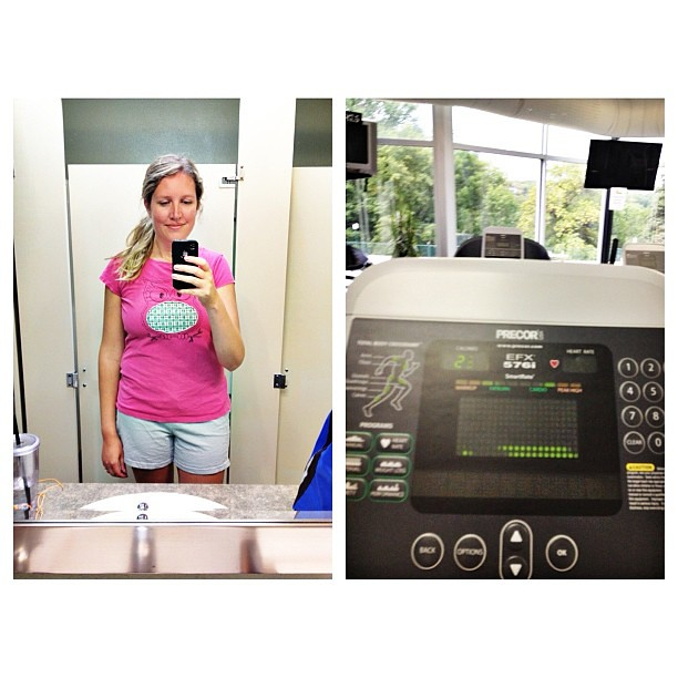 Still working at it.. Week 2. And I like to workout in cute animal shirts it seems. Health update on blog on Thursday!