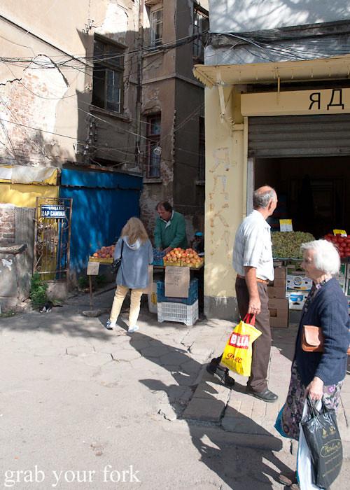 alleyway stalls at Zhenski Pazar Jenski Pazar Women's Market Sofia