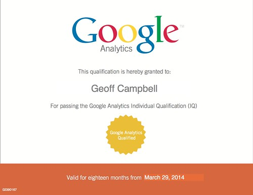 Geoff Campbell Google Analytics Qualification
