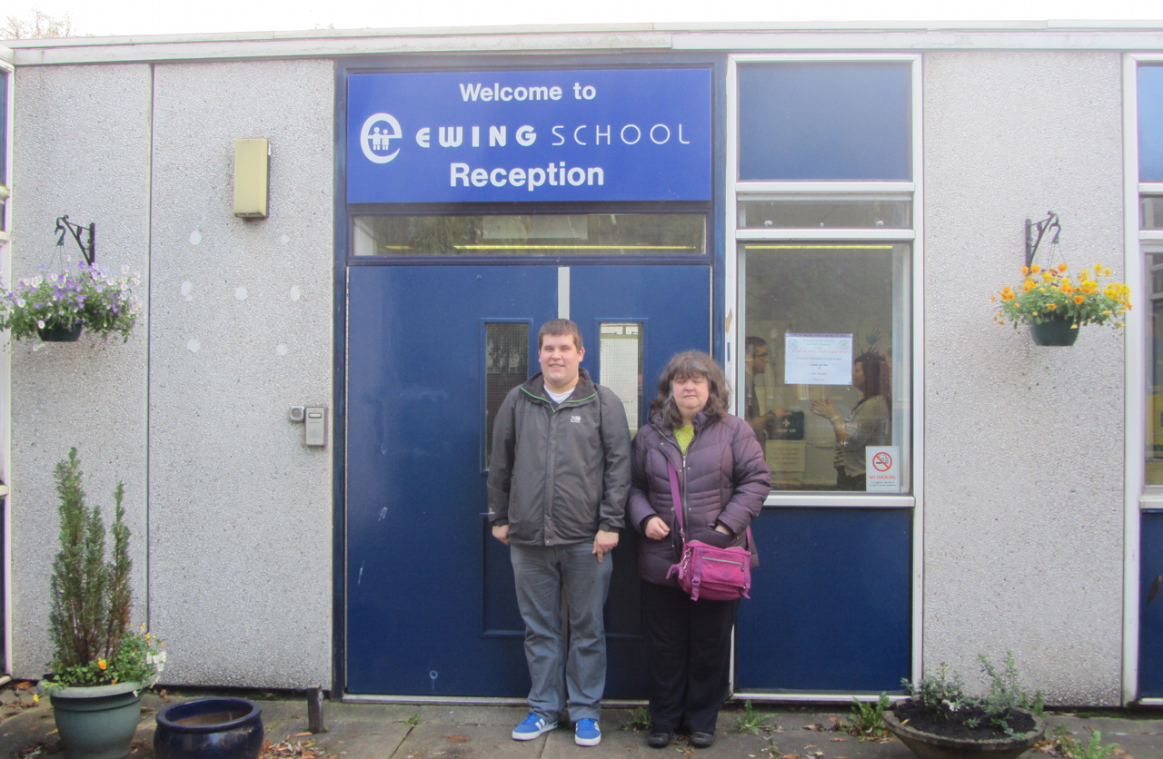 Ewing School entrance, me and Louise Frost