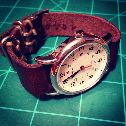 Made a leather watch band for one of my Timex Weekenders last night.