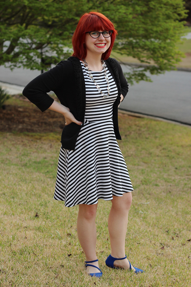Black and White Striped Dress, Black Cardigan, and Cat Eye Glasses