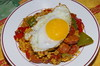 Chorizo and pepper rice with a fried duck egg