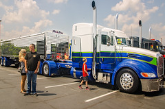 """The Davis Bros. 2015 Peterbilt 386 """"Buzz Kill"""" with lights on during the 34th annual Rotella SuperRigs light show in downtown Joplin Missouri"""