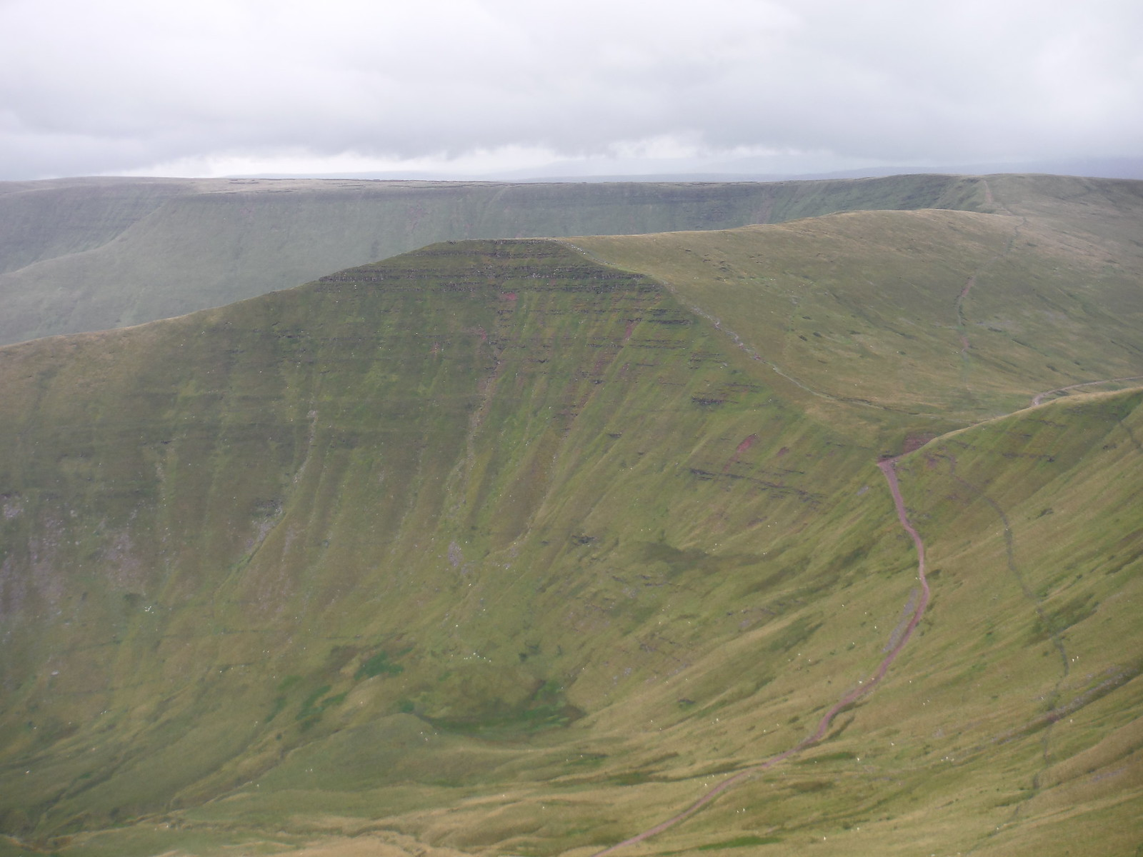 Fan y Big, 'Old Roman Road', Waun Rydd behind; from Cribyn SWC Walk 278 Breacon Beacons Horseshoe - Bannau Brycheiniog