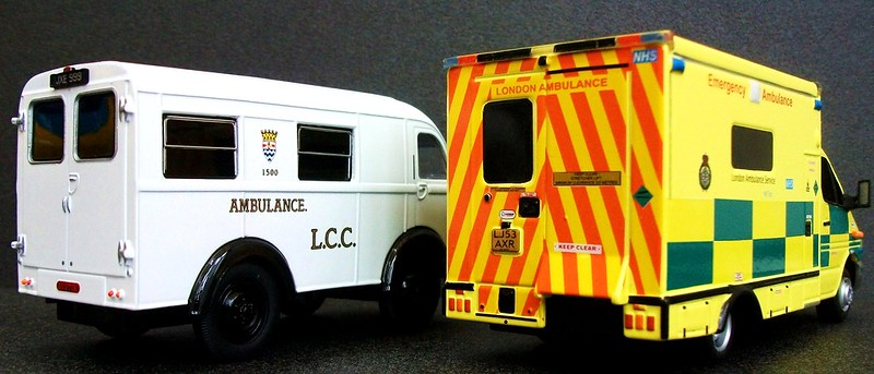 Austin K8 and Mercedes Sprinter London ambulance models.