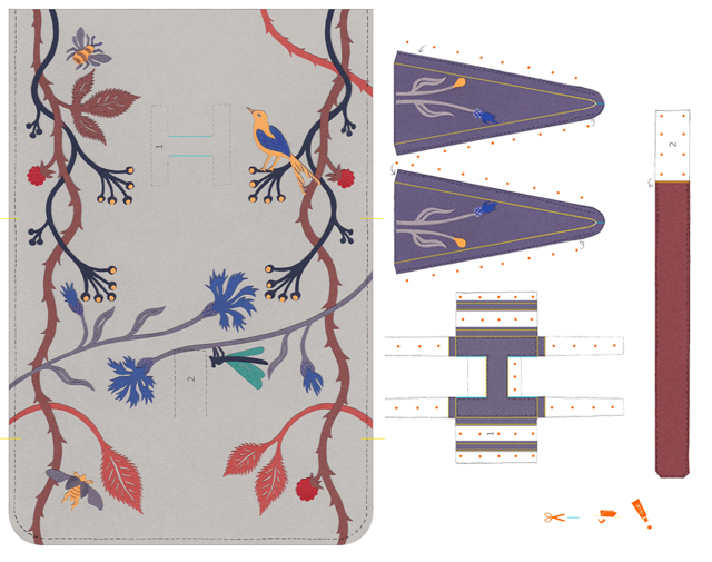 hermes printable paper clutch bag