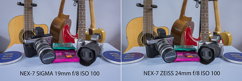 Comparison between SIGMA 19mm f/2.8 and ZEISS 24mm f/1.8 SONY NEX-7 @ f/8