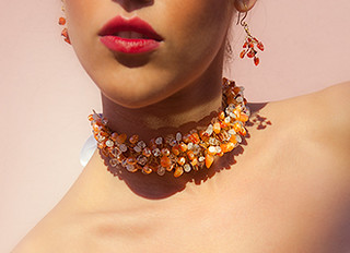 Tangerine Freshwater Pearls, Moonstone, Mother of Pearl and Carnelian Choker/Collar Necklace w/ Ribbon Tie by Katharine-Marie Designs