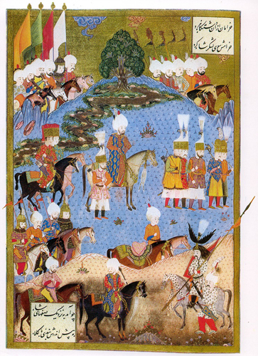 Sueleymanname_nahcevan.Suleiman the magnificent marching with army in Nakhichevan.at summer 1554. 1561.Matrakchi maybe