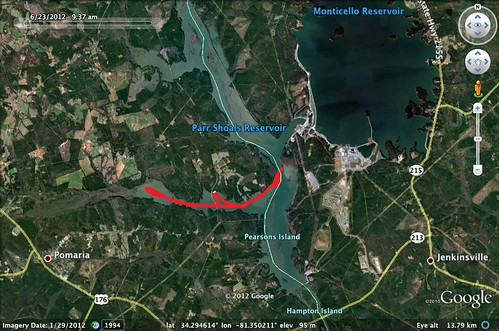 Parr Shoals Paddle Route