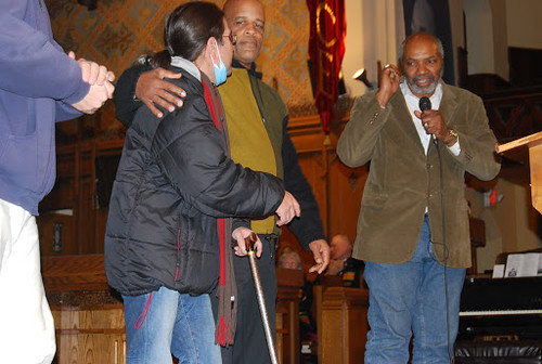 Abayomi Azikiwe, editor of the Pan-African News Wire, with Colombian hunger striker Jorge Parra speaking at Detroit MLK Day on January 21, 2013. (Photo: Sharon Black) by Pan-African News Wire File Photos