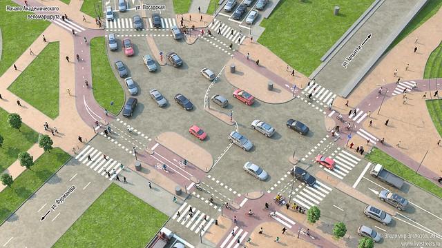 Проект велодорожек на перекрестке Московская-Большакова-Посадская