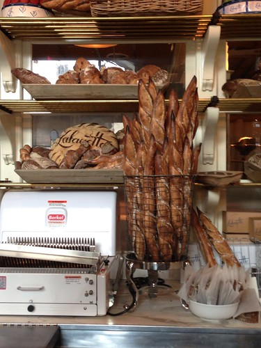 Lafayette's beautiful baguettes and large bread cutting machine