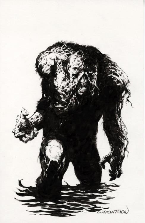 Swamp Thing in water by Berni Wrightson