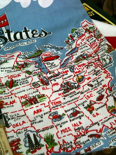 Vintage Inspired USA Map Table Cloth