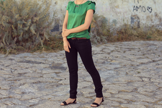 black jeans and green top