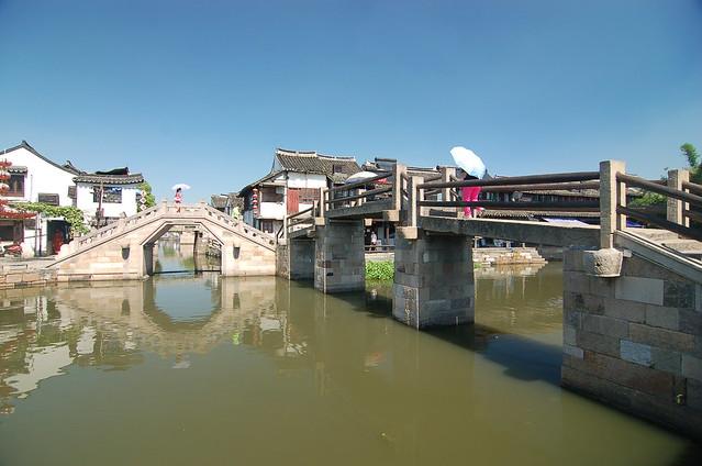 浙江西塘 北柵街 萬安橋(右) 安泰橋(左)