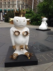 'The Humans' by Olaf Breuning, part of the new 'Lightness of Being' art installation in City Hall Park.