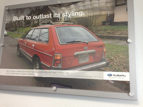 subaru poster in the dealership