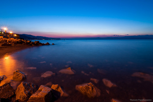 sea sky seascape lights rocks dusk greece bluehour peloponnisos derveni