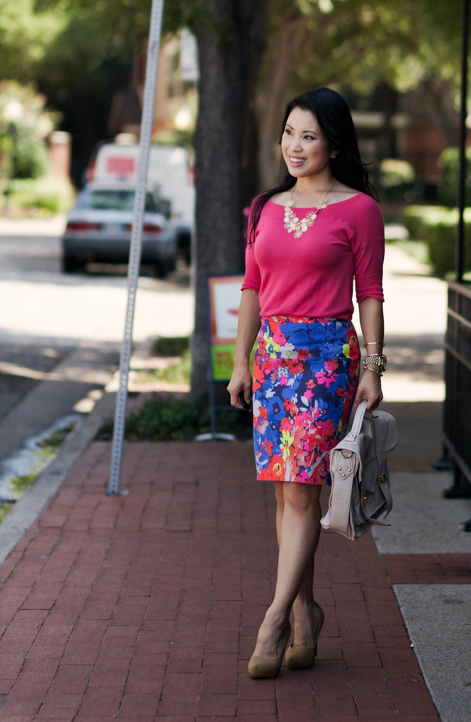 floral statement necklace, loft abstract floral skirt, outfit