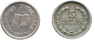 Dominican Republic 5 Centavos 1877